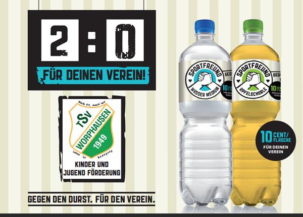 Mit Hilfe der SPORTFREUND-Getränke den TSV Worphausen aktiv unterstützen